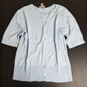 LOFT baby blue short sleeve button cardigan